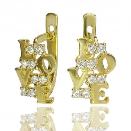"""Золотые серьги """"Love"""" с куб. цирконием (С1119)"""