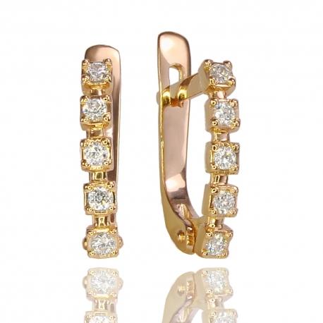 Золотые серьги с куб. цирконием (С1122)