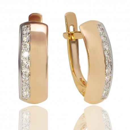 Золотые серьги с куб. цирконием (С1124)