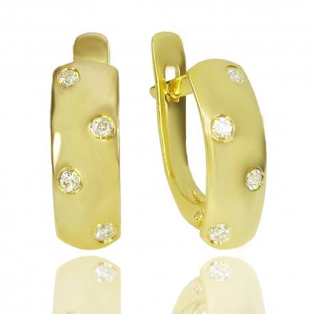 Золотые серьги с куб. цирконием (С1123)