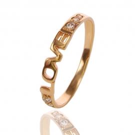 """Золотое кольцо """"Love"""" с куб. цирконием (К0819)"""