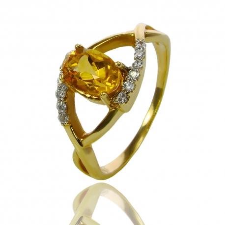 Золотое кольцо с цитрином и куб. цирконием (К1089)