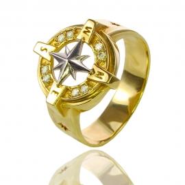 Золотой перстень Роза Ветров (К0975)