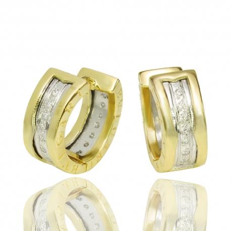 Золотые серьги с куб. цирконием (C1139)
