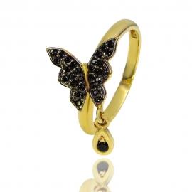 """Золотое кольцо """"Бабочка"""" с шпинелью (К0505)"""
