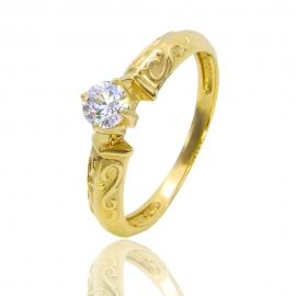 Золотое кольцо с куб. цирконием (К1014)