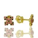 Золотые серьги с шпинелью  (С0882)