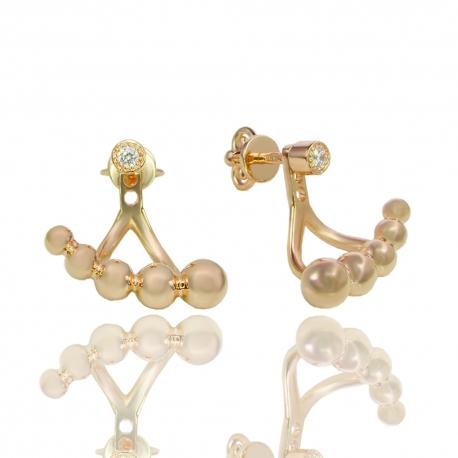 Золотые серьги с куб. цирконием (С1003)