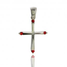 Золотой крестик с сапфиром (П0227)