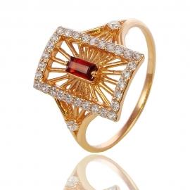 Золотое кольцо с гранатом (К0855)