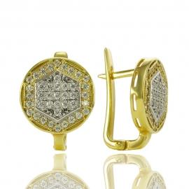 Золотые серьги с куб. цирконием (С0746)