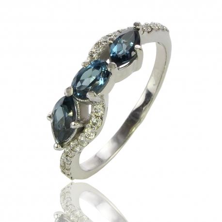 Золотое кольцо с лондон топазом (К0934)