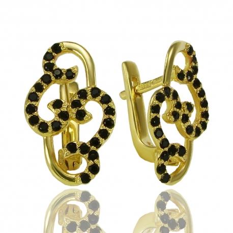 Золотые серьги с шпинелью (С0790)