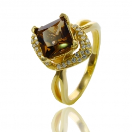 Золотое кольцо с кварцем (К1059)