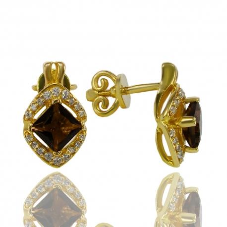 Золотые серьги с кварцем (С0868)