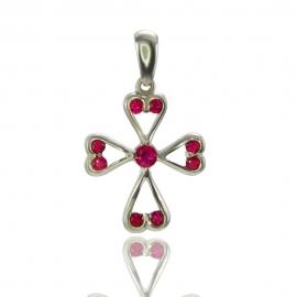 Золотой крестик с рубином (П0258)