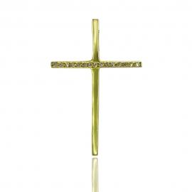 Золотой крестик с бриллиантом (П0387)
