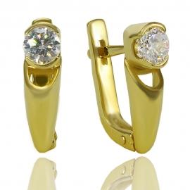 Золотые серьги с куб. цирконием (С0299)