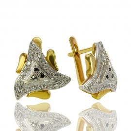 Золотые серьги с шпинелью (С0425)