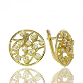 Золотые серьги с куб. цирконием (С0617)