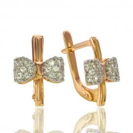 Золотые серьги с куб. цирконием (С1013)