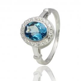 Золотое кольцо с лондон топазом (К0915)