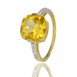 Золотое кольцо с цитрином (К1124)