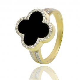 """Золотое кольцо """"Клевер"""" с ониксом (К1335)"""