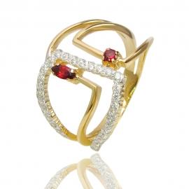 Золотое кольцо с гранатом (К1358)