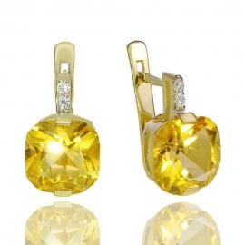 Золотые серьги с цитрином (С0899)