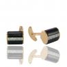 Золотые запонки с ониксом и куб. цирконием (ЗН0224)