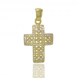 Золотой крестик с куб. цирконием (П0020)