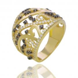 Золотое кольцо с шпинелью и куб. цирконием (61148)