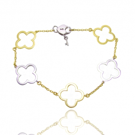 Золотой браслет клевер (БТ0296)