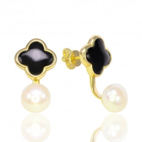 Золотые серьги клевер с жемчугом (С1129)