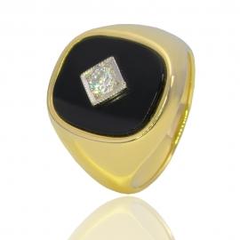 Золотой перстень с ониксом (К0520)