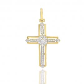 Золотой крестик с куб. цирконием