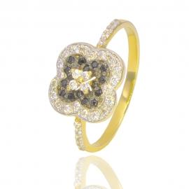 Золотое кольцо с куб. цирконием и шпинелью (К0830)