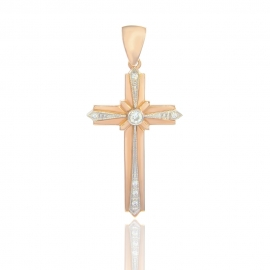 Золотой крестик с куб. цирконием (П0027)