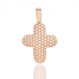 Золотой крест с куб. цирконием (1087)