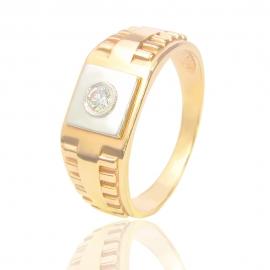 Золотий перстень з куб. цирконієм (14825)