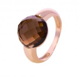 Золотое кольцо с дымчатым кварцем (Н5599)