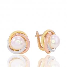 Золотые серьги с жемчугом (Н5109)