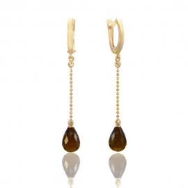 Золоті сережки з димчатим кварцем (Н5198)