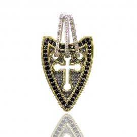 Золотий кулон хрестик з шпінел'ю (Н6002)