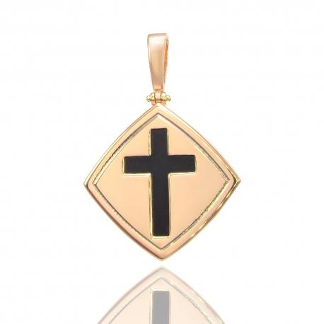 Золотой кулон крестик с ониксом (Н6038)