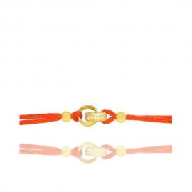Браслет красная нить с золотыми колечками (Н6056)