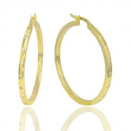 Золотые серьги кольца с куб. цирконием (Н7020)