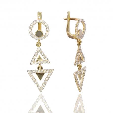 Золотые серьги с куб. цирконием (С1112)