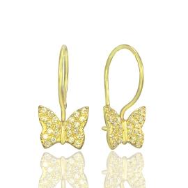 """Золоті дитячі сережки """"Метелик"""" (70179)"""